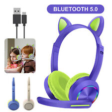 Bluetooth Cat Rabbit Ear Headsets Wireless Led w/Mic Headphones For Kids Girls