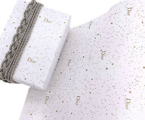 """Dior Authentic Logo Stars Gift Wrapping Paper Approx 6 Ft. 27.5"""" Wide White Gold"""