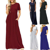 Women Short Sleeve Maxi Long Dress Ladies Round Neck Casual T-Shirt Long Dress