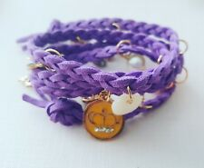 Purple & gold, pearl, heart, coin,  crystal bead weaved wrap around bracelet