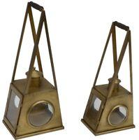 Vintage Hand Lantern Retro Design Distressed Brass Metal Wood Handle 2 Piece Set
