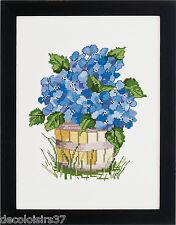 Permin  70-2379  Fleurs bleues  Broderie  Point de croix compté  toile Aïda