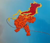 Fantastic Four Human Torch & The Thing Original Production cel 90s Marvel