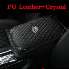 1X Bling Diamond Rhinestone Black Leather Armrest Box Rail Pad Mat Car Accessory