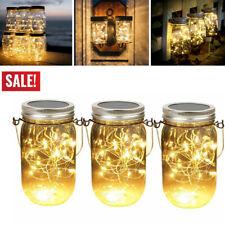 Solar 20 Led Mason Jar String Hanging Light Garden Decor Lantern Lamp Warm White