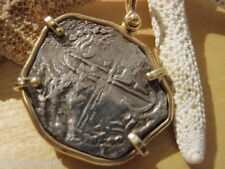 Very RARE Atocha 2 Reale Coin Assayer Q 14K Gold Bezel DOUBLESTRUCK OBV and REV