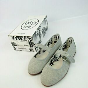 Flossy Style Tolosa Shoes NEW Women's Size 5 Jersey Gray Canvas Mary Jane Spain