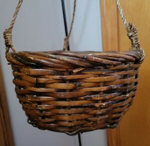 NEW Wicker Hanging Basket large rope tri-hanger brown NOS indoor planter plants