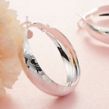 Round Hoop Vogue Earrings #E322 Womens 925 Sterling Silver Heart-shaped printed
