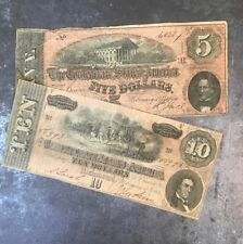 1864 Confederate Civil War Notes $5 AND $10 (2) Note Currency Collection