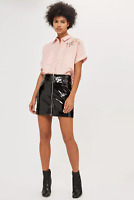 NEW Topshop Baby Pink Linen Blend Panther Cropped Shirt UK 8/US 6/EU 36 RRP £32