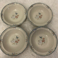 "International Marmalade Goose 6.75"" Stoneware Cereal Bowls 8868 Lot Of 4 Cherry"
