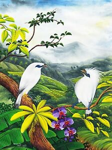 Hand painting Balinese Starling Birds 309