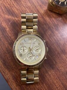 "MICHAEL KORS MK-5055 RUNWAY Chronograph Women's Watch RUNNING 6"" Wrist"