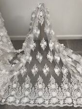 OFF WHITE 3D Flower Beaded Sequins Cored Embroidery Bridal Lace Fabric 50in 1 Yd