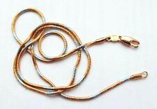 NEW_18 Carat OR ROSE/Blanc Laminé_45cm_Collier/Chaîne serpent plaque_GF Gold