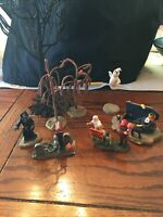 Lemax Spooky Town Lot Of 8 Trees, Ghost, Haunted House Sign, Coffin, RIP
