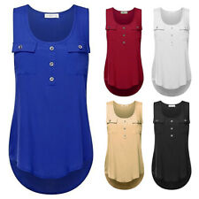 FP- Women Solid Summer Sleeveless Vest Blouse Lady Scoop Neck Casual Tank Top