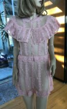 Lim'S Vintage Lovely Intricate and Delicate Hand Crochet Mini Dress Color Pink