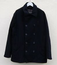 Fred Perry Mens Dark Navy Classic Wool Pea Coat Size XXL