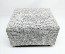 Footstool / Pouffe / Small Stool / grey chunky Herringbone Chenille British Made