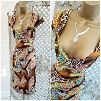 Lonkel Paris 💋 UK S Paisley Print Mock Wrap Stretch Wiggle Dress ~Free Postage~