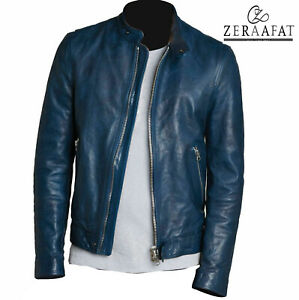 Men's Genuine Leather Jacket Sheepskin Leather Cafe Racer Biker Jacket ZERAAFAT™