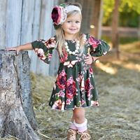 Canis Summer Toddler Kids Baby Girls Dress Floral Cotton Sundress Party Dress