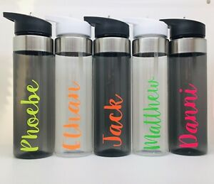 Flip Top Straw Personalised Name Water Drinks Bottle Kids Sports Fluorescent Gym