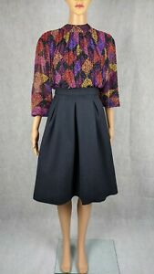 COS Midnight Blue Pleated A-Line Formal Skirt With Pockets Size UK 6 / EUR 34