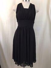 White House Black Market Womens Dress Black Cocktail Sleeveless Knee Length Sz 4