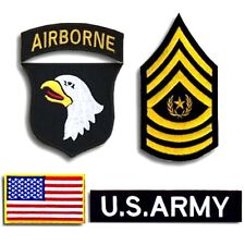 USA Army 101st Airborne Division Military Rank Flag SETS PATCH BADGE