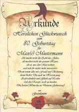 UR35 Urkunde zum Geburtstag 40 50 60 70 80 90  Geburtstagskarte Geschenk