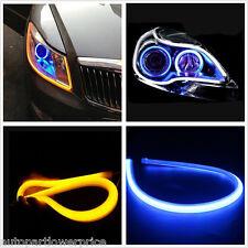 Blue Amber Turn Signal Light 12V 2×60CM Switchback Headlight Soft Tube LED Strip