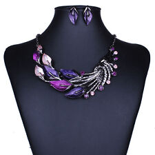 Elegant Women Lady Purple Peacock Enamel Bib Necklace Stud Earrings Set Stylish
