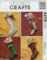 2003 Christmas Stocking Sewing Pattern 4 Styles McCall's 4270 OOP