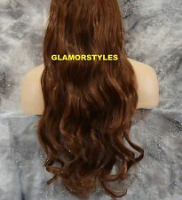 "22"" AUBURN FLIP IN SECRET CLEAR WIRE HAIR PIECE EXTENSIONS NO CLIP IN/ON #30"