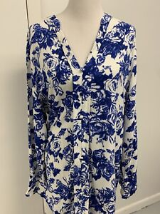 Soft Surroundings 1x Floral Roses Blouse Top Tunic White Blue V Long Sleeve