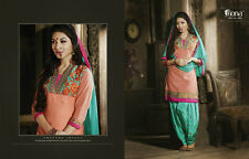 Indian Designer  Patiala  chanderi dress material- 4021