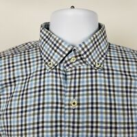 Peter Millar Mens Blue Gray Check Plaid Dress Button Shirt Size Medium