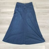 Soft Surroundings Women's Skirt Style 29137 Blue Chambray Long Dark Wash Size S