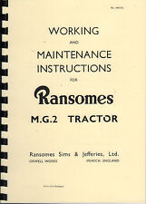 Ransomes M.G.2 Crawler Tractor Instruction Book Manual