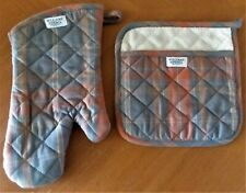 WILLIAMS-SONOMA CALIFORNIA PLAID MITT & POTHOLER SET 100% COTTON - NEW WITH TAGS