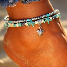 NEW Boho Starfish Turquoise Beads Sea Turtle Anklet Beach Sandal Ankle Bracelet