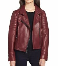 Nicole Miller Women's Asymmetrical Moto Leather Jacket (Merlot) Sizes XS or M