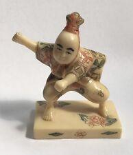 Vintage Chinese Japanese Hand Painted Engraved Dancing Man Resin Figurine