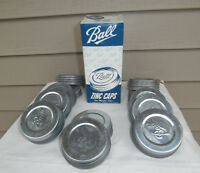 Vintage Ball Zinc Mason Jar Lids Caps Porcelain Lined, Box of 12 - NEW OLD STOCK