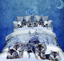 4pcs COOL 3D Print Bedding Set 100% Cotton Wolf in the Snow Duvet cover Bed Use