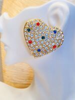 VTG Massive Heart Earrings Crystal Rhinestone Clip Gold Couture Runway Statement