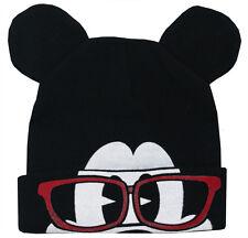 Mickey Mouse Disney Glasses Flip-Down Cuff Wink Adult Winter Knit Beanie Hat